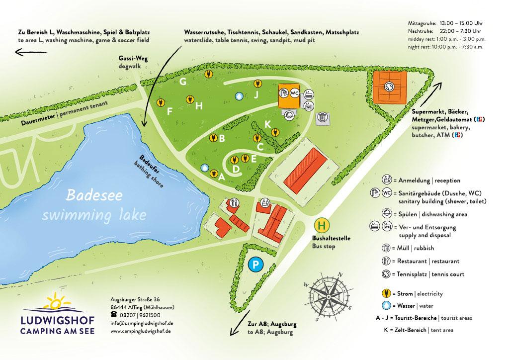 Camping Ludwigshof am See - Lageplan